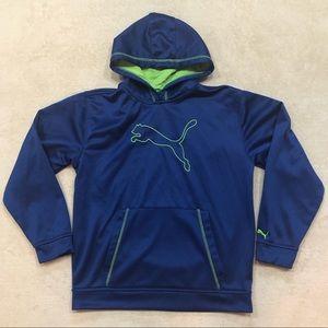 Puma Boys Blue Green Hoodie, Size XL (No Size Tag)